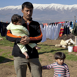 A Syrian family in a refugee camp