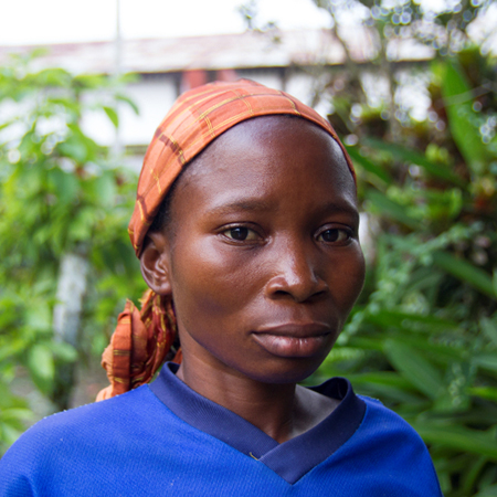 A head shot of a young woman from the Democratic Republic of Congo
