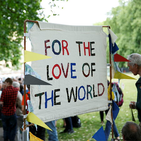 Supporters take part in the For the Love of climate march.