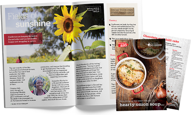 Gardens do good magazine open on a page with sunflowers, next to a recipe card for hearty onion soup.