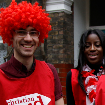 Christian Aid supporters doing house-to-house collections