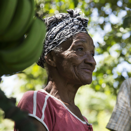 75 year old Etiké Aubert stands on her land next to growing bananas
