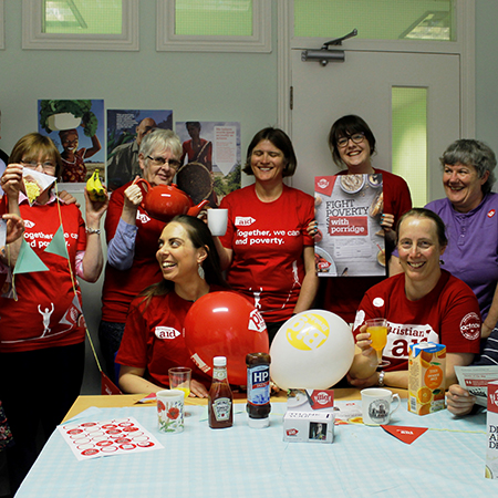 The Christian Aid Yorkshire team in Christian Aid tshirts at a Big Brekkie fundraising event