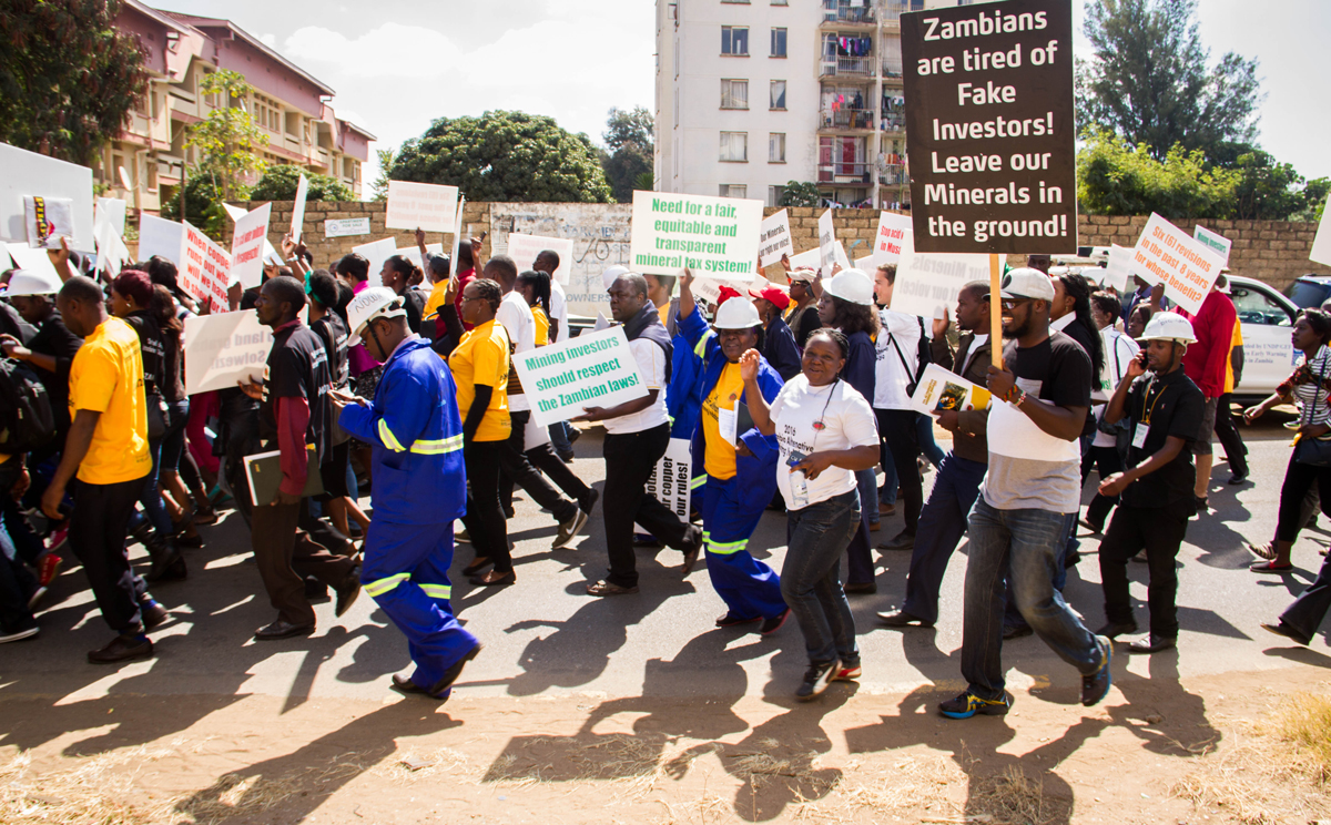 A march at the 2016 Zambia Alternative Mining Indaba