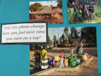 Pictures of people in Malawi stuck on a classroom wall with the wording 'will this photo change how you feel next time you turn on a tap?'