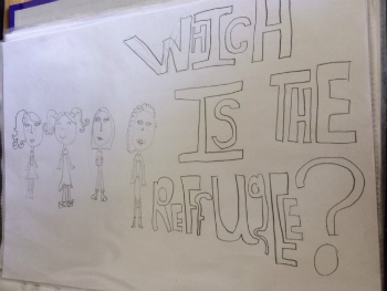 A hand-drawn picture of four people with the wording 'which is the refugee?'