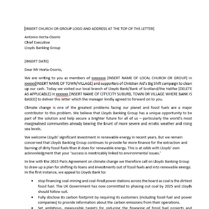 Template letter for Lloyds CEO thumbnail