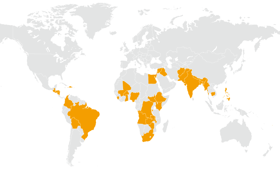 Map showing countries Christian Aid works in
