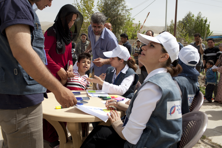 Baynyan, northern Iraq. Refugees registering for hygiene kits and aid.