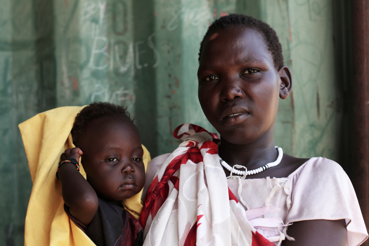 Mother and child in a malnutrition clinic in East Africa