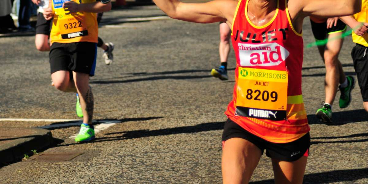 One of Christian Aid's runners, Juliet, taking part in the 2015 Great North Run