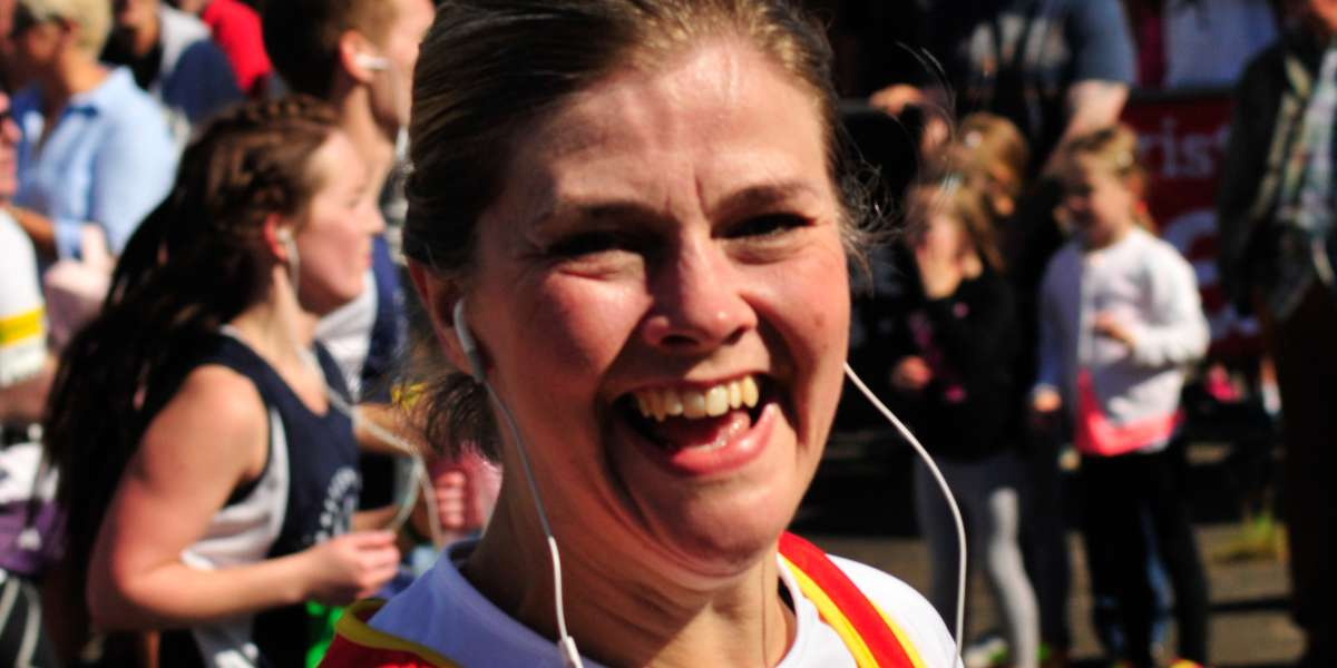 A female Christian Aid runner taking part in the Great North Run 2015