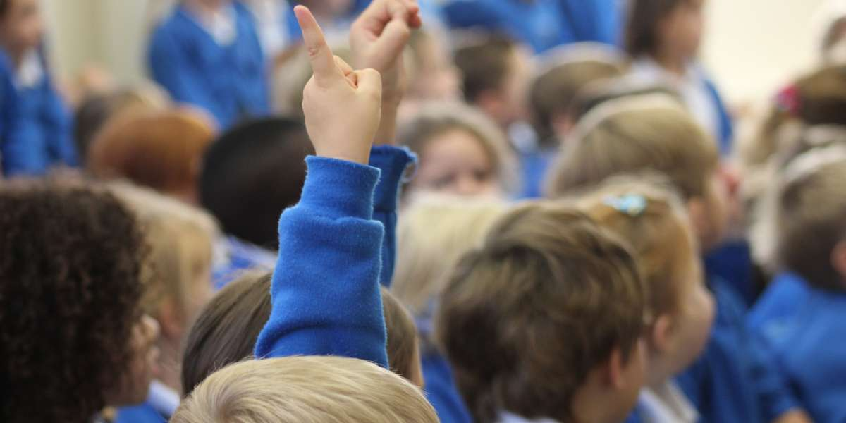 A class of school pupils, two pupils with their hands up