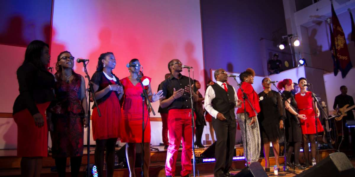 Choir onstage at A Gospel Christmas 2013