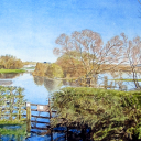 Roger's watercolour of the Thames in flood at Thame
