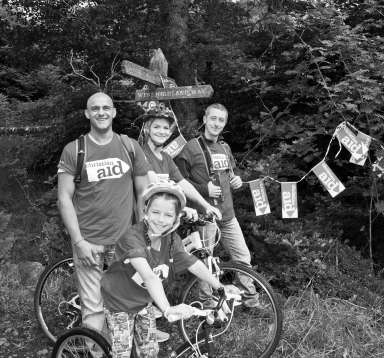 Family on a cycle ride to raise funds for Christian Aid