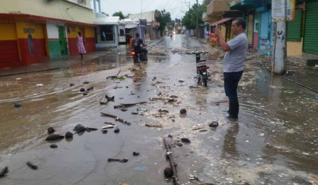 Flooded street in Haiti