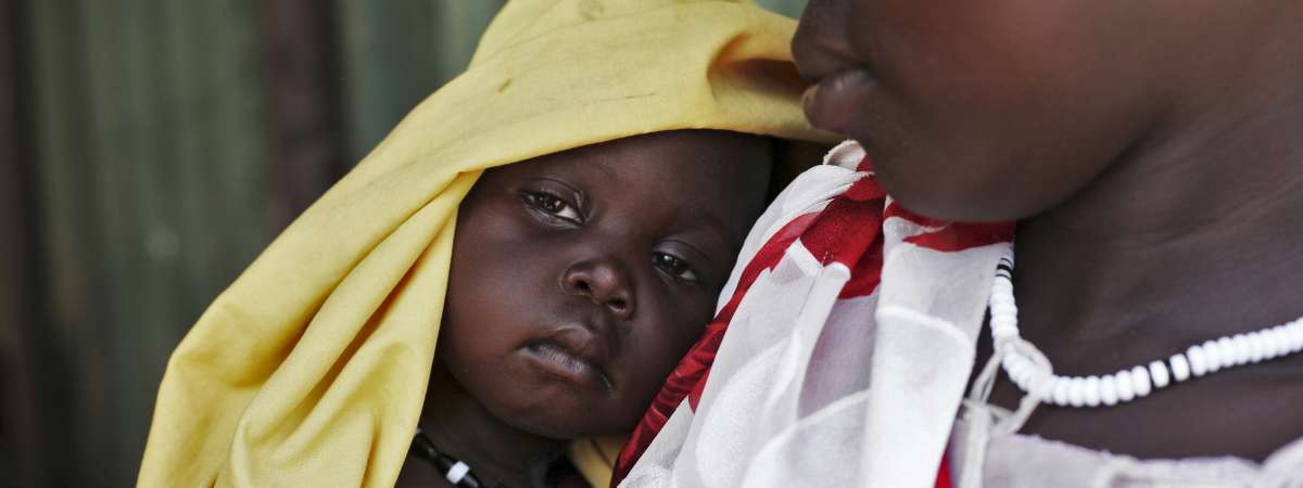 A close up of a mother and baby in South Sudan