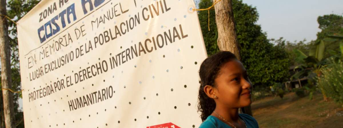 Signpost for the Costa Azul humanitarian Zone. Christian Aid partner Justice and Peace help support set up humanitarian zones across Colombia to protect communities still affected by the conflict