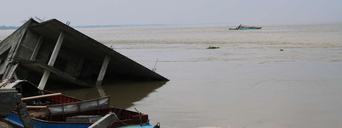 Destruction caused by Padma river erosion