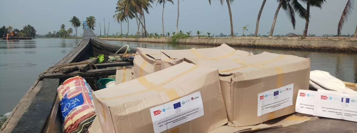 Aid being delivered by boat in Kerala