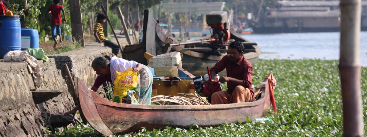 Girija and Dilip in their fishing boat