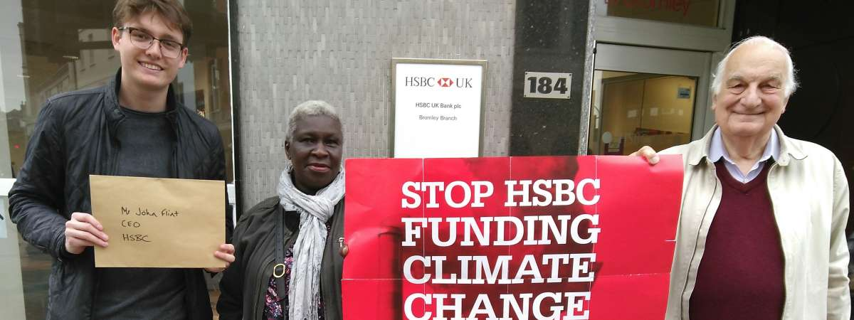 Campaigners outside their local HSBC branch in Bromley