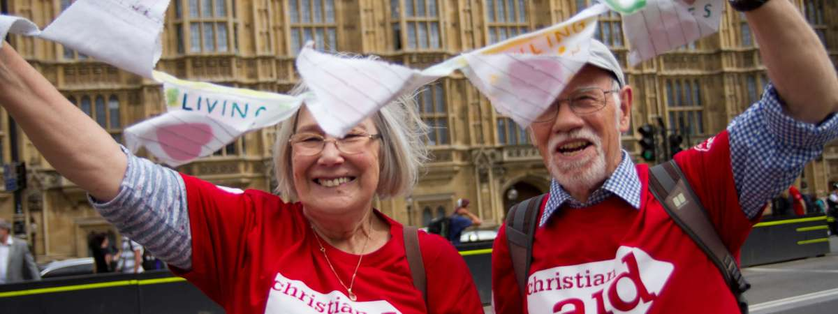 Campaigners at a climate change lobby with Christian Aid