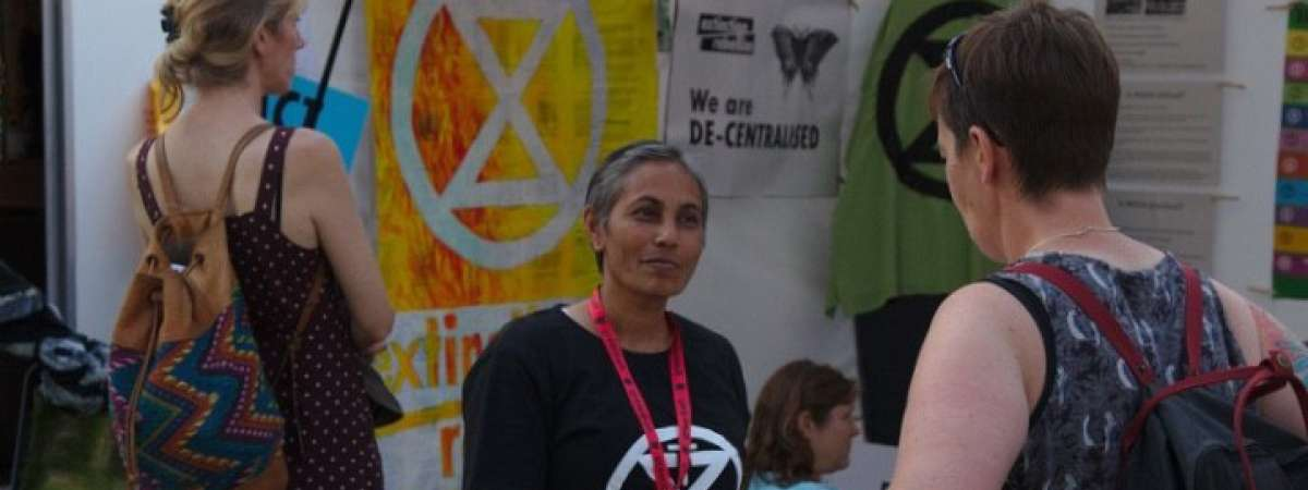 Melanie at Extinction Rebellion camp