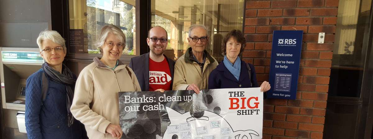 Christian Aid campaigners on their Big Shift bank visit
