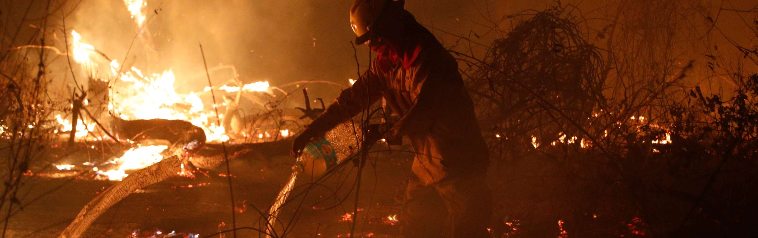 Firefighters tackle the blaze in the Amazon Rainforest