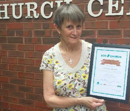 Sue Charlton holds the St Stephen's Eco Church certificate