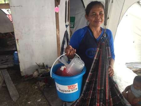 Indonesia - Saripa with the hygiene kit she received