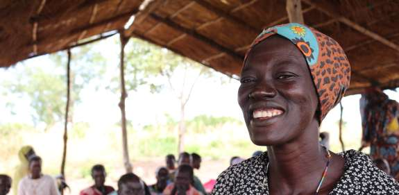 Achela at a women to women group in South Sudan