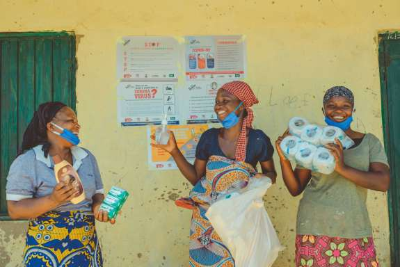 Women receiving hygiene packs, Nigeria
