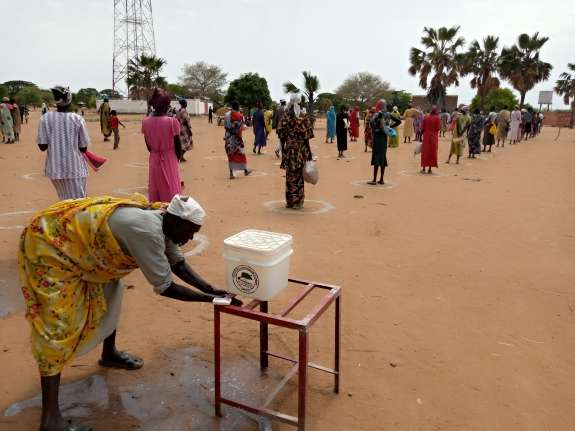 Hand washing stations were set up by SPEDP