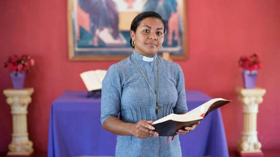 Deacon Elineide Ferreira de Oliveira in her church in Ariquemes.