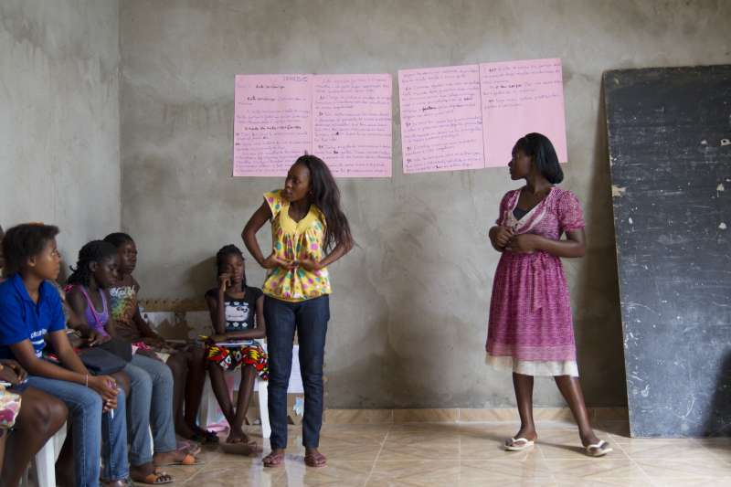 Girls take part in a class as part of Girls Building Bridges, a project run by partner UCF. Girls Building Bridges is a competencies for life programme in a poor suburb of Luanda, the capital of Angola.