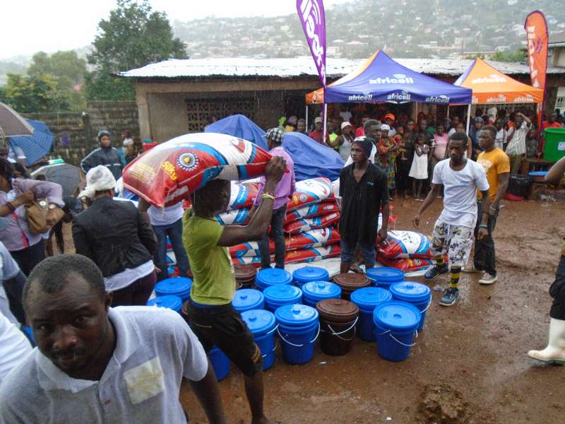 Food donations being distributed in Freetown, Sierra Leone