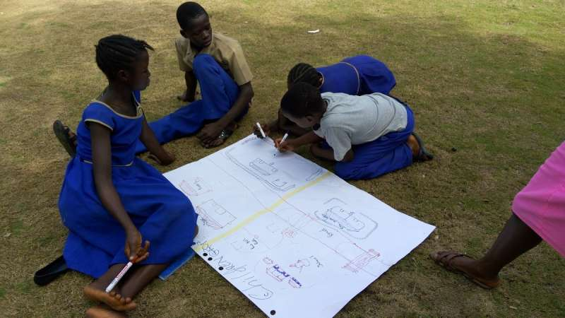 Children from Bumpeh community draw the risks and hazards they face, this is part of the Participatory Vulnerability and Capacity Assesments (PVCA) process of involving the community to understand the risks and offer solutions to the challenges they face.