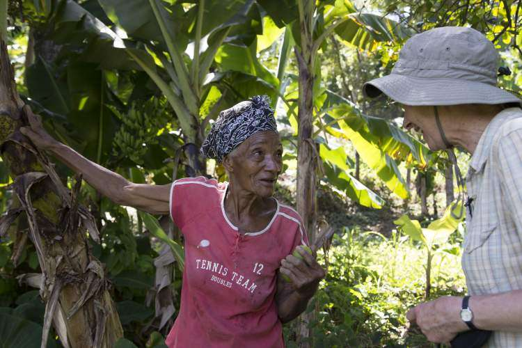 Etiké Aubert with Margaret Hart on her land where she grows peanuts, bananas, plantains and beans. Etiké and her son took in seven displaced people after the earthquake supporting and feeding them.