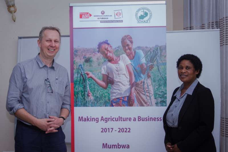 Christian Aid Scotland Governance Advisor Charles Gay with CHAZ Project Manager Dorothy Chiluba during the launch of the project.