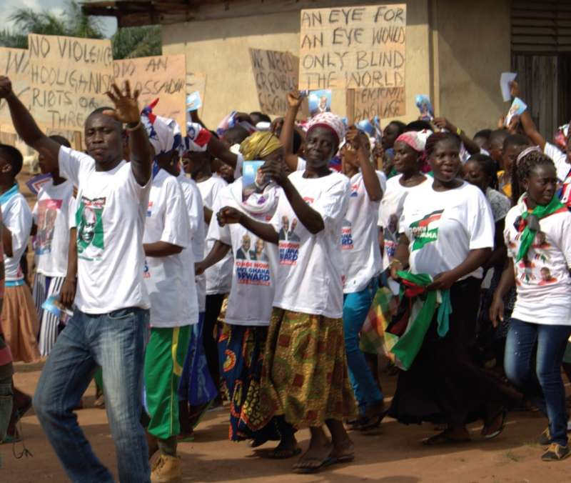 Marching for peace in Donkorkrom in the Kwahu Afram Plains, North District.