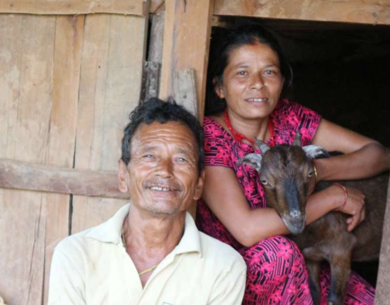 Chandra and Shanta Basnet received two goats from Christian Aid through its local partner organisation GORETO in Gorkha