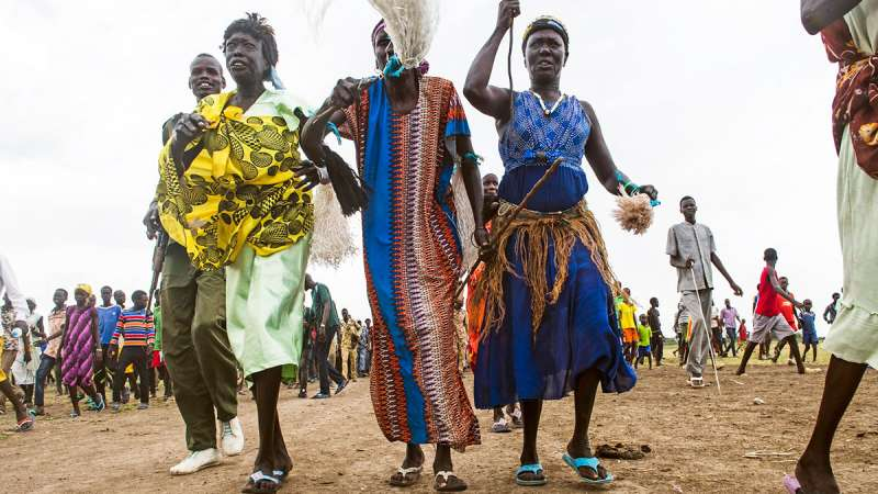 South Sudanese women march in Akobo (Photo courtesy of UNMISS)