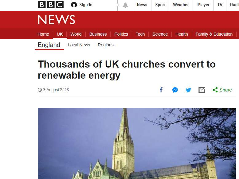 Screenshot of BBC news story about Big Church Switch