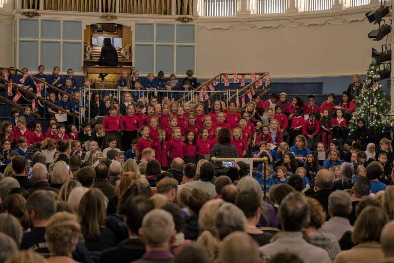 Children take part in Big Christmas Sing, Oxford, 2018