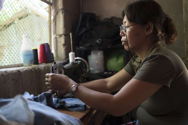 Mary Ann at her sewing machine
