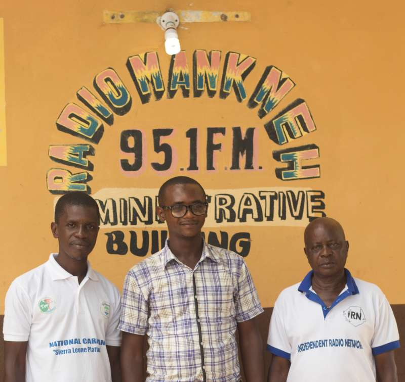Radio Mankneh journalist Mohamed Daddy Jalloh and station colleagues