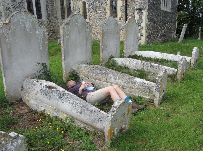 Sleeping in the churchyard